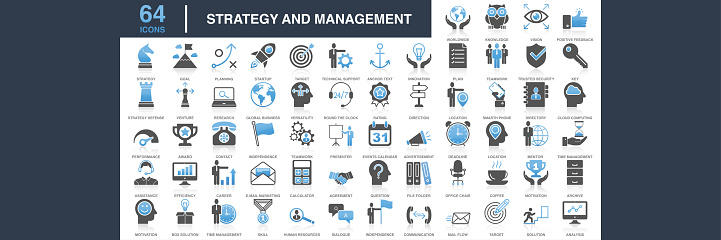 Modern Universal Business Strategy and Management Icons Collection. Business Strategy and Management Flat Icon Set. Set of vector creativity icons. 64x64 Pixel Perfect. For Mobile and Web. Idea generation preparation inspiration influence originality, concentration challenge launch. Contains such icons as Handshake, Target Goal, Agreement, Inspiration, Startup.