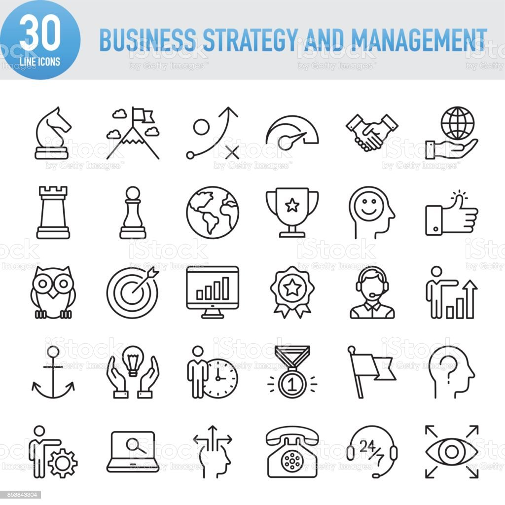 Modern Universal Business Strategy and Management Line Icon Set royalty-free modern universal business strategy and management line icon set stock illustration - download image now
