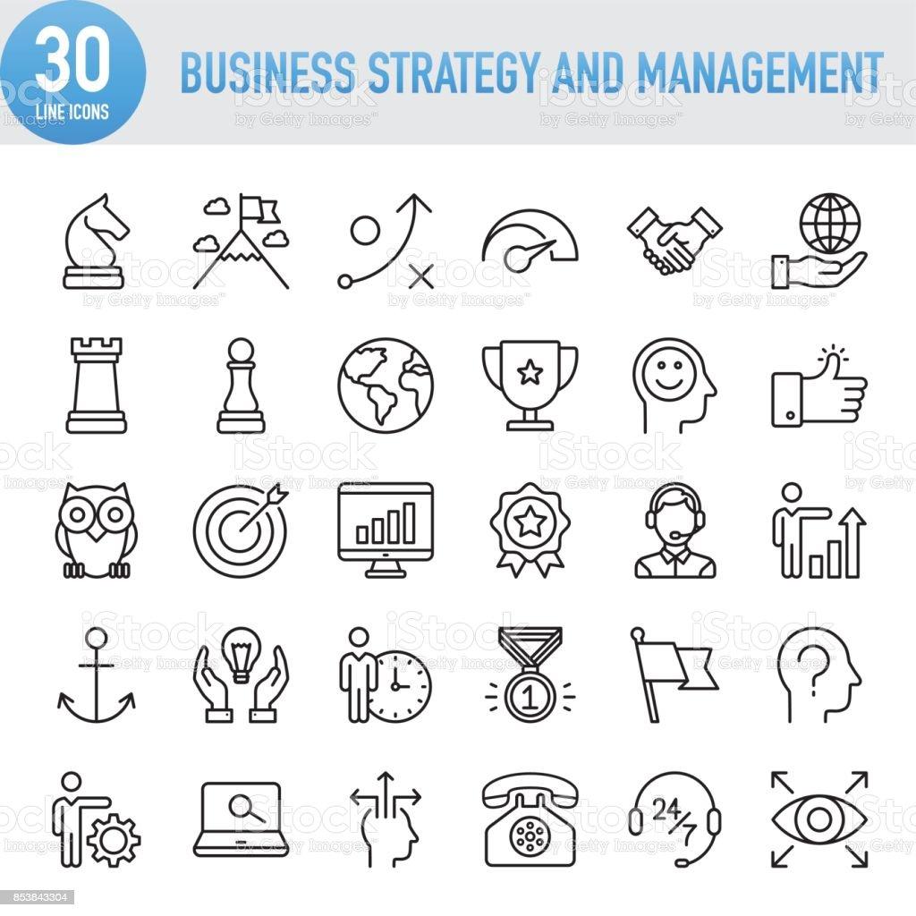 Modernen universellen Business-Strategie und Management-Line-Icon-Set – Vektorgrafik