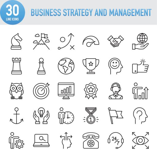 modern universal business strategy and management line icon set - business icons stock illustrations, clip art, cartoons, & icons