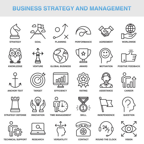 Modern Universal Business Strategy and Management Line Icon Set vector art illustration