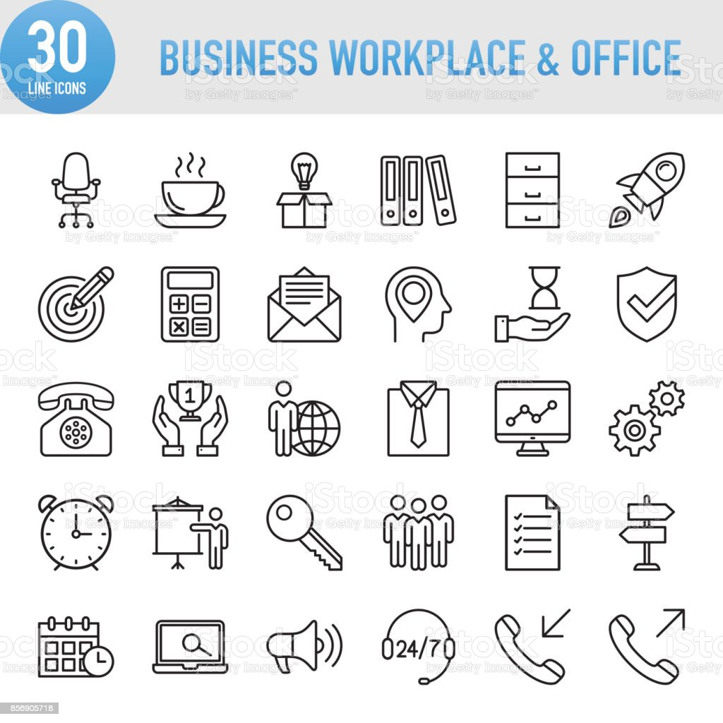 Modern Universal Business Workplace and Office Line Icon Set vector art illustration