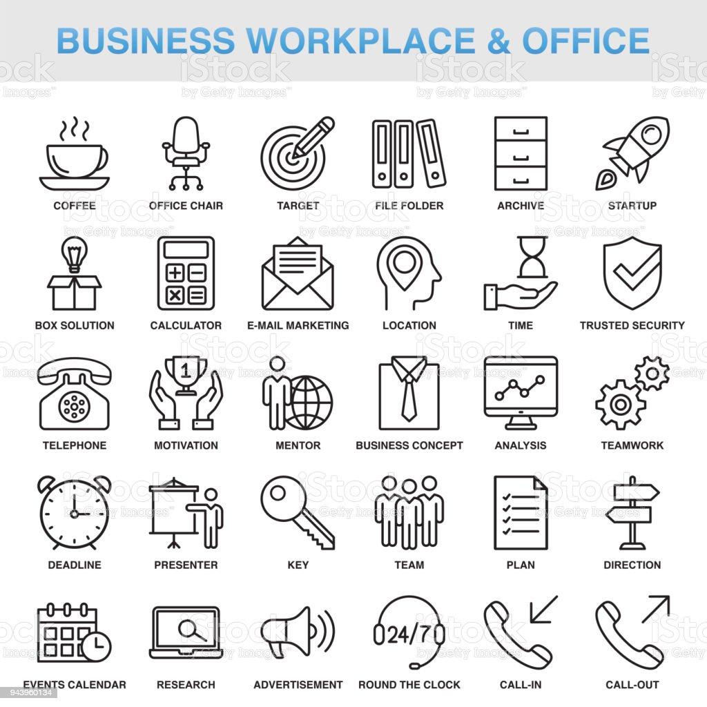 Lugar de trabajo moderno de negocios Universal y conjunto de iconos de línea oficina ilustración de lugar de trabajo moderno de negocios universal y conjunto de iconos de línea oficina y más vectores libres de derechos de acuerdo libre de derechos