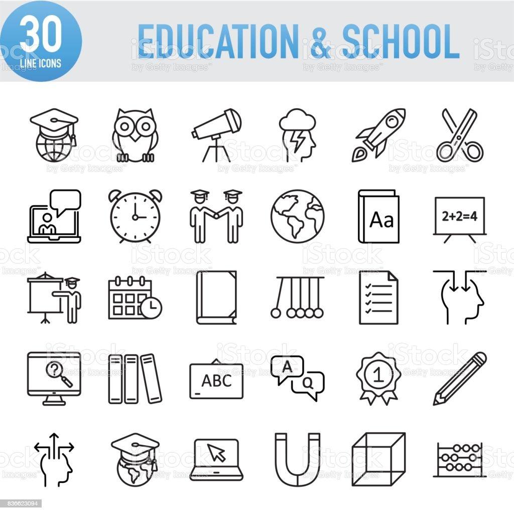 Educación moderna línea Universal y los iconos de la escuela ilustración de educación moderna línea universal y los iconos de la escuela y más vectores libres de derechos de aprender libre de derechos
