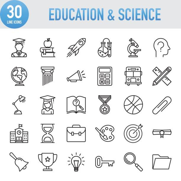 modern universal line education and science icons - education icons stock illustrations, clip art, cartoons, & icons