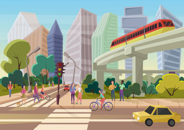 modern urban cartoon city street with young people walking vector illustration. - деловой центр города stock illustrations