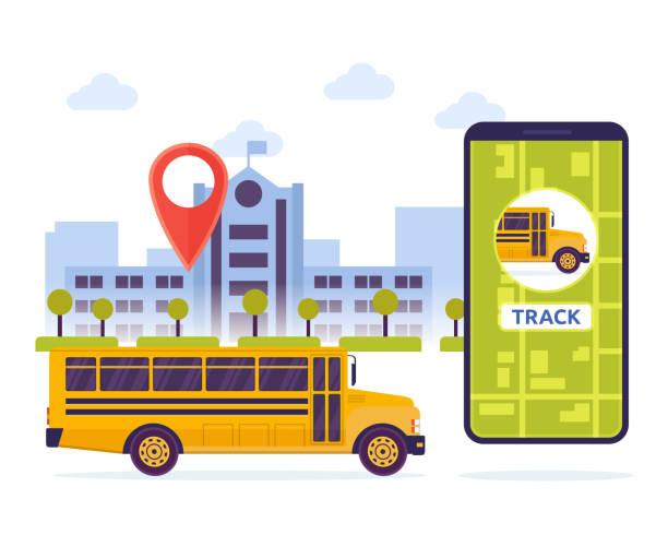 ilustraciones, imágenes clip art, dibujos animados e iconos de stock de ciudad urbana moderna estudiante previamente mobile tracking sistema ilustración - autobuses escolares