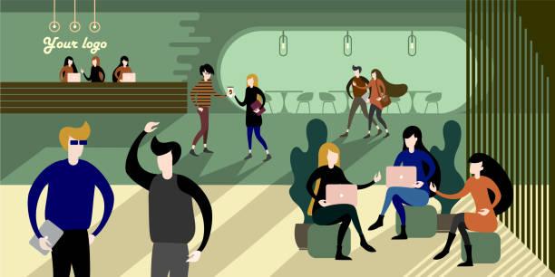 illustrations, cliparts, dessins animés et icônes de intérieur de bureau écologiques eco urbain moderne - hall d'accueil