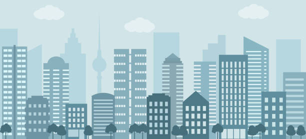 Modern urban landscape. Modern urban landscape. City life illustration with house facades and other urban details. Flat style, vector. ziek stock illustrations