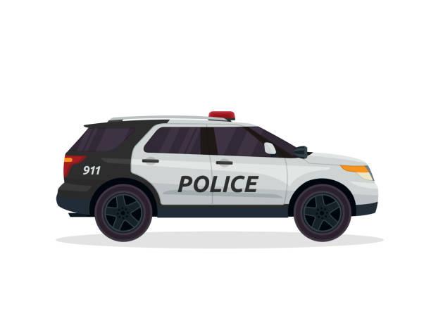 Modern Urban Police Patrol Vehicle Illustration Police Patrol Vehicle Illustration police car stock illustrations