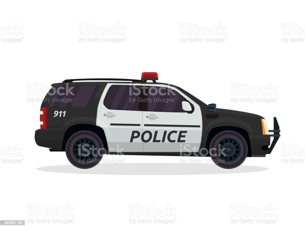 Modern Urban Police Patrol Vehicle Illustration vector art illustration