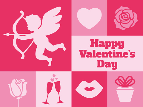 Modern Valentine's Day minimal greeting card - v1