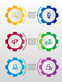 Modern vector 3D illustration. Infographic gears template with six elements, icons. Designed for business, presentations, web design, interface, workflow layout, diagrams with 6 steps