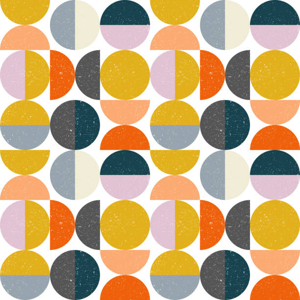Modern vector abstract seamless geometric pattern with semi circles and circles in retro scandinavian style Modern vector abstract seamless geometric pattern with semicircles and circles in retro scandinavian style. Pastel colors shapes with worn out texture on white background. scandinavian culture stock illustrations
