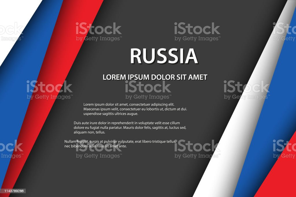 Fundo moderno do vetor, folhas de papel sobrepostos no olhar da bandeira do russo, feito em Rússia, cores do russo e espaço livre cinzento para seu texto - ilustração de arte em vetor
