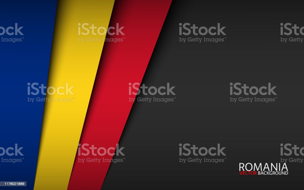 Modern Vector Background With Romanian Colors And Grey Free Space For Your Text Overlayed Sheets Of Paper In The Look Of The Romanian Flag Made In Romania Stock Illustration Download Image