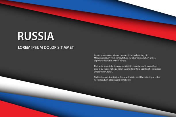 ilustrações, clipart, desenhos animados e ícones de fundo moderno do vetor com cores do russo e espaço livre cinzento para seu texto, folhas de papel sobrepostos no olhar da bandeira russian, feito em rússia - bandeira union jack