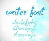 Modern Vector brush hand written Alphabet. Watercolor effect. ABC Letters.