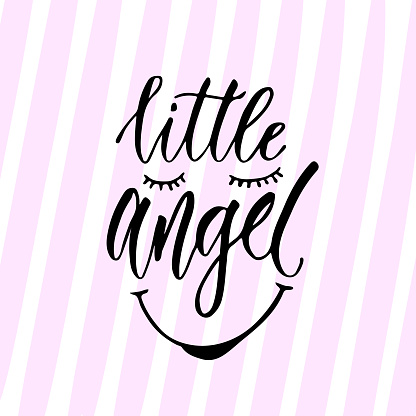 Modern vector calligraphy. Little angel print. Handwritten phrase. Kids t-shirt design