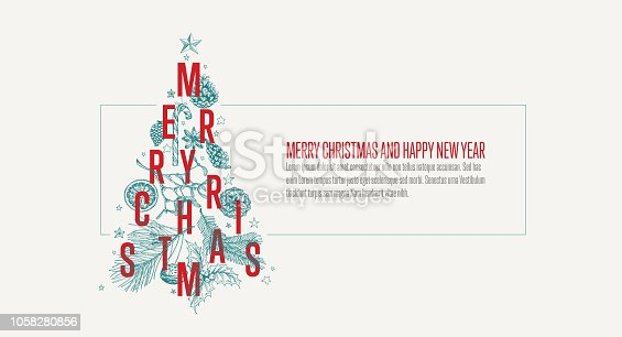 istock Modern vector christmas card template with tree 1058280856