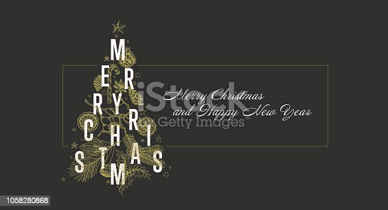 istock Modern vector christmas card template with tree 1058280868