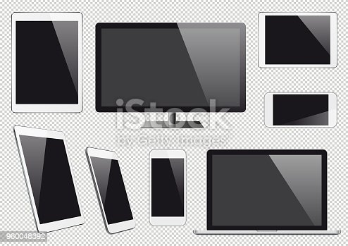 Electronic devices with blank screens. Eps10 vector illustration with layers (removeable) and high resolution jpeg file included (300dpi).