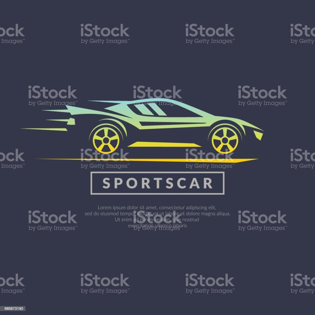Modern vector emblem sports cars vector art illustration