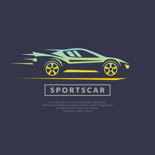 Modern vector emblem sports cars Modern vector emblem sports cars on a dark background in linear style auto racing stock illustrations
