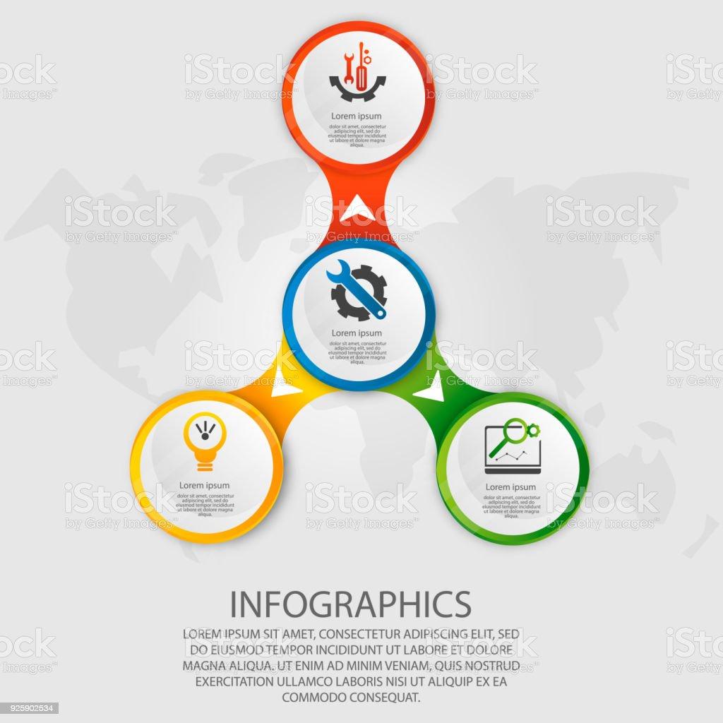 Moderne Vektorillustration 3d Schablone Kreis Infografiken Mit Vier ...