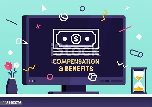Modern flat design compensation & benefits vector illustration for business presentations, web pages, corporate reports, layout templates or mobile app designs.