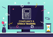 Modern flat design compliance & ethics training vector illustration for business presentations, web pages, corporate reports, layout templates or mobile app designs.