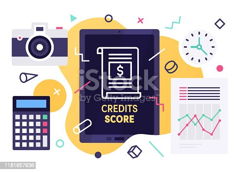 Modern flat design credit score vector illustration for business presentations, web pages, corporate reports, layout templates or mobile app designs.