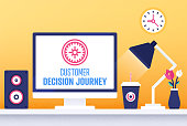 Modern flat design customer decision journey vector illustration for business presentations, web pages, corporate reports, layout templates or mobile app designs.