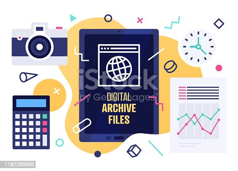 istock Modern Vector Illustration Concept for Digital Archive Files 1182265055