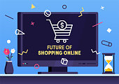 Modern flat design future of shopping vector illustration for business presentations, web pages, corporate reports, layout templates or mobile app designs.