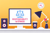 Modern flat design responsibility & ethics vector illustration for business presentations, web pages, corporate reports, layout templates or mobile app designs.