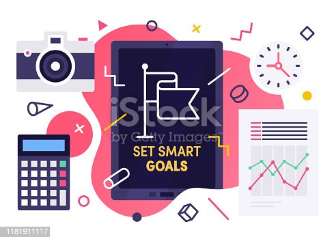 Modern flat design set smart goals vector illustration for business presentations, web pages, corporate reports, layout templates or mobile app designs.