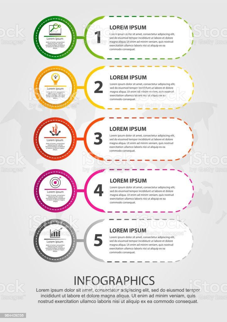 Moderne vectorillustratie. Infographic sjabloon met vijf elementen, cirkels en tekst. Stap voor stap. Ontworpen voor zakelijke presentaties, webdesign, diagrammen verfraaien met de 5 stappen - Royalty-free Advertentie vectorkunst