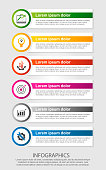 Modern vector illustration. Infographic template with six elements, circles and text. Step by step. Designed for business, presentations, web design, diagrams with 6 steps