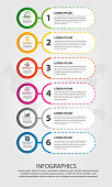 Modern vector illustration. Infographic template with sixelements, circles and text. Step by step. Designed for business, presentations, web design, diagrams with 6 steps