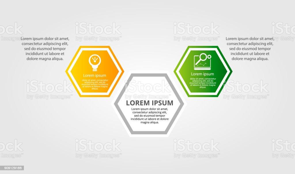 Moderne Vektorillustration Infografikvorlage Mit Drei ...