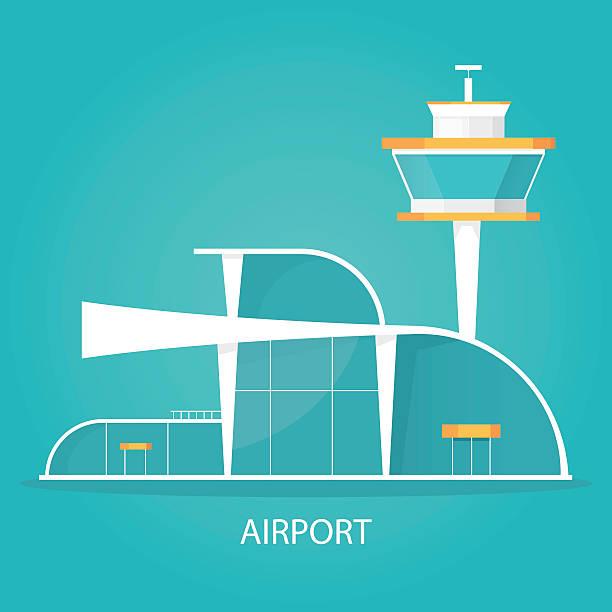 stockillustraties, clipart, cartoons en iconen met modern vector illustration of airport landscape, logo of airport. - airport pickup