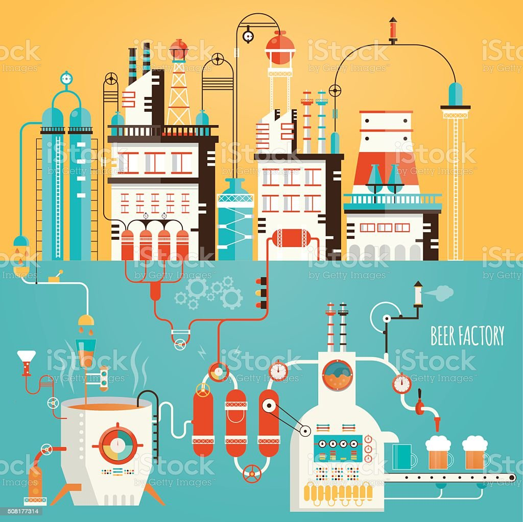 Modern vector illustration of beer industry, beer manufacturing, vector art illustration
