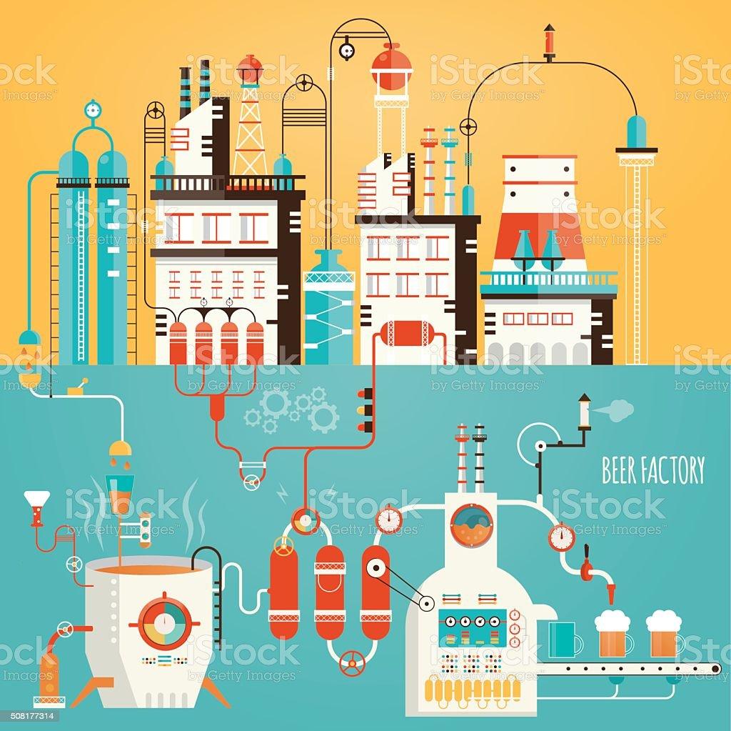 Moderno ilustração vetorial de cerveja indústria de fabricação de cerveja, - ilustração de arte em vetor
