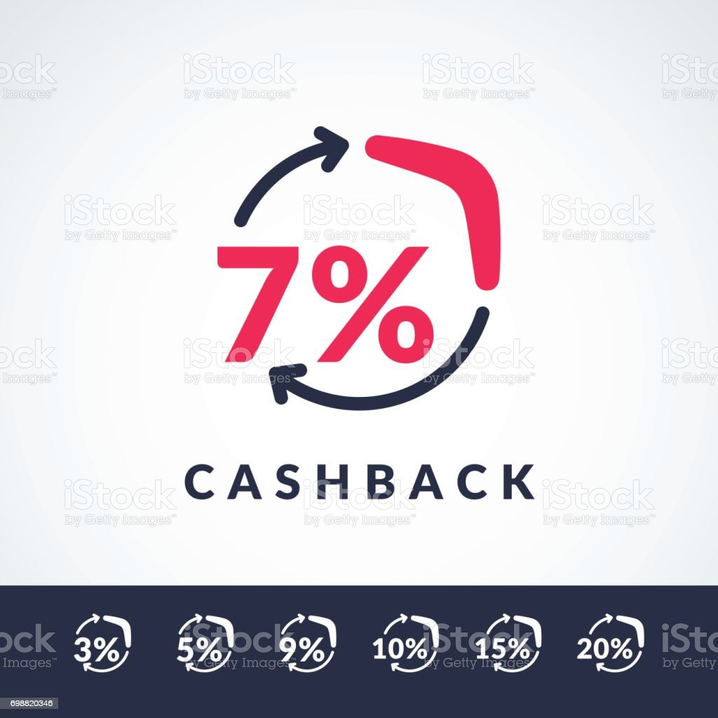 Modern vector illustration of cash back with the boomerang and the percent sign. Poster in minimalistic flat style vector art illustration