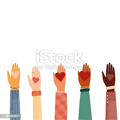 Modern vector illustration of charity and donation. Hands with a heart symbol. for social activity. International people give hearts and love