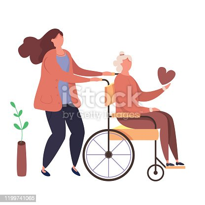 Modern vector illustration of help old disabled people. Characters volunteers with handicapped grandmother. Daughter walks with old disabled mother in the wheelchair