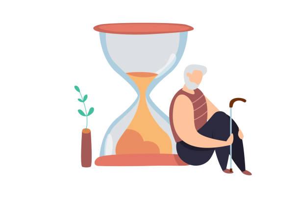 ilustrações, clipart, desenhos animados e ícones de ilustração moderna do vetor do homem idoso que senta-se perto do hourglass. conceito de vida. ciclo de vida. envelhecimento. depressão idosa - vida de estudante