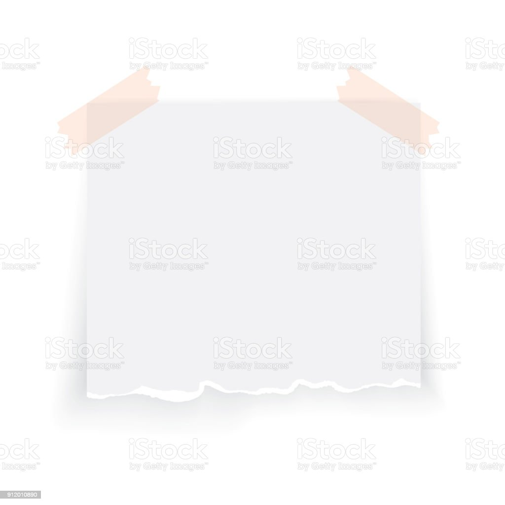 Modern vector illustration of ragged realistic stick and paper isolated on white background.  Type of torn paper vector art illustration