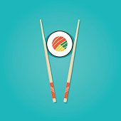 Modern vector illustration of Japanese food, sushi roll with chopstick